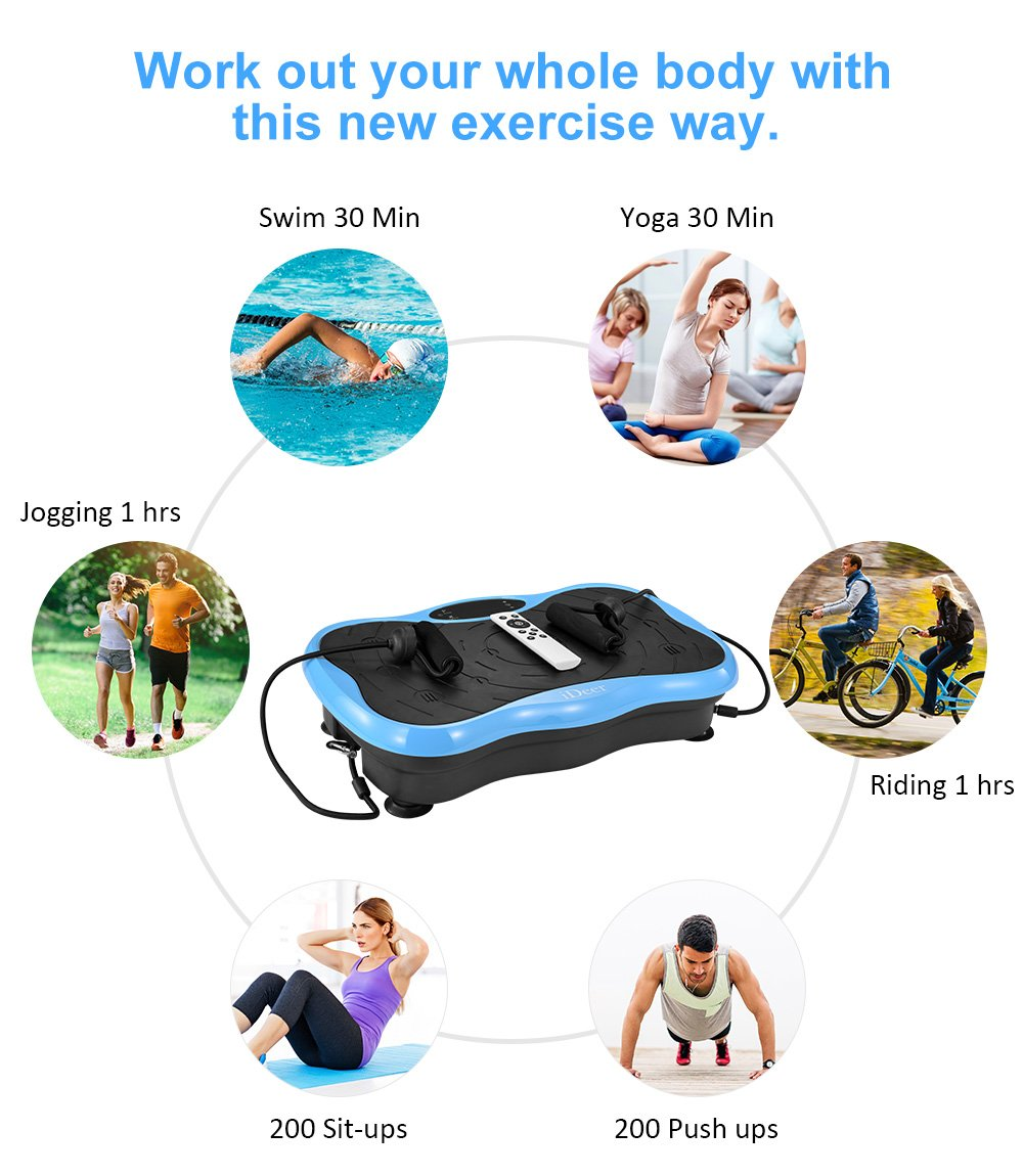 iDeer Vibration Platform Fitness Vibration Plates,Whole Body Vibration Exercise Machine w/Remote Control &Bands,Anti-Slip Fit Massage Workout Vibration Trainer Max User Weight 330lbs (Blue09004) by IDEER LIFE (Image #6)