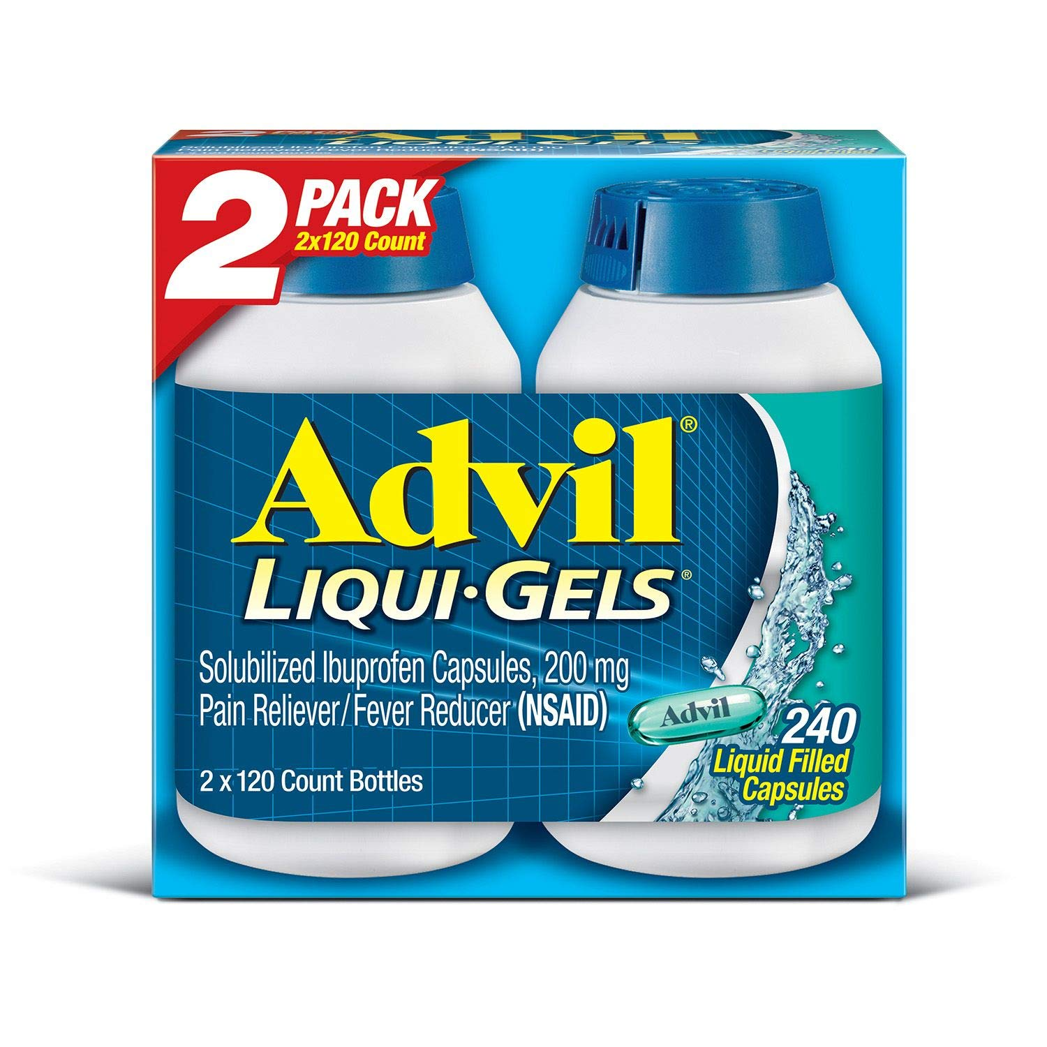 Advil Liqui-Gels (240 Count) Pain Reliever/Fever Reducer Liquid Filled Capsule, 200mg Ibuprofen, 240 Count        by Advil