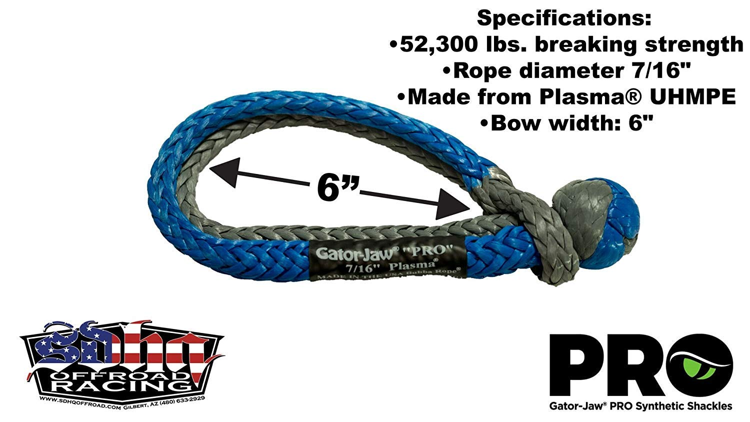 52,300LB Breaking Strength Pro Red /& Gray Bubba Rope GatorJaw Soft Shackle