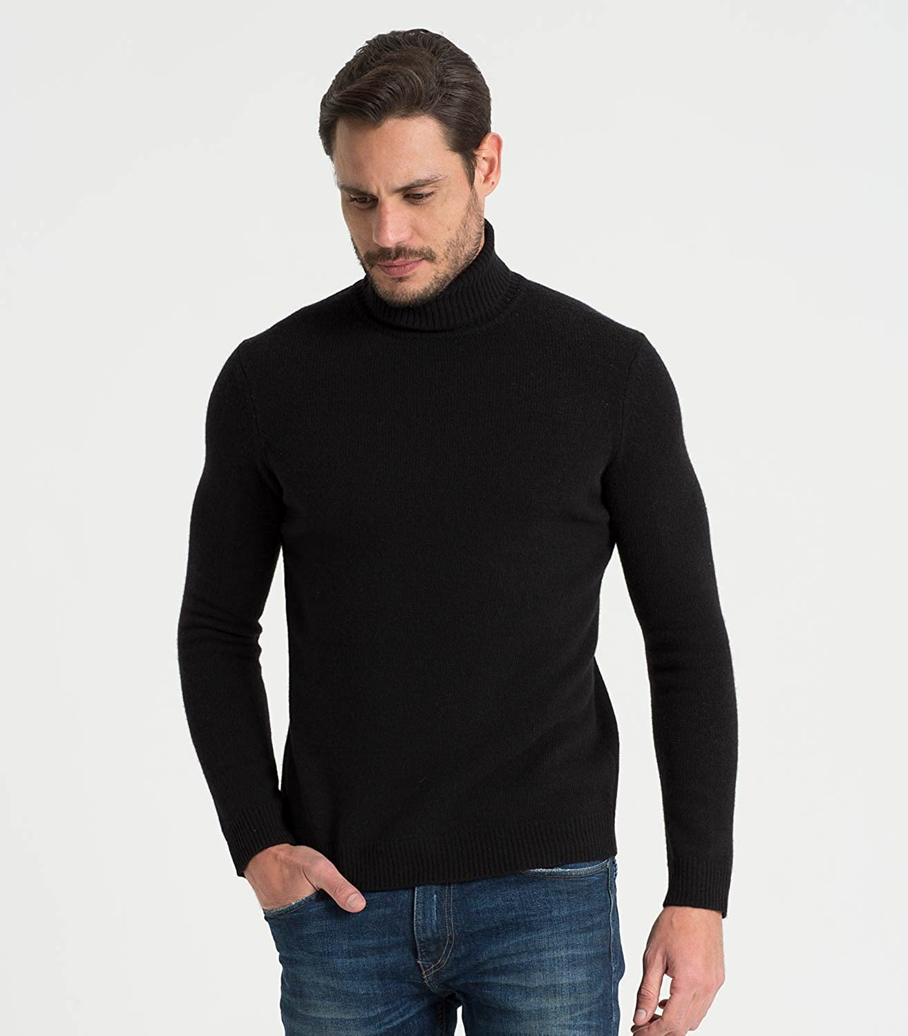 Mens Lambswool Polo neck Jumper Black, S