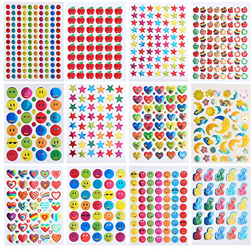 Coopay 7060 Pieces Teacher Stickers for Kids, Reward Stickers Mega Variety Pack, Incentive Stickers for Teacher Supplies Classroom Supplies Including Heart, Smiley Face, Star, Moon, Apple ()