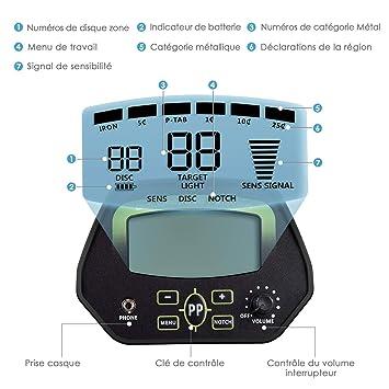 Amzdeal - Detector de metales con pantalla LCD profesional, multifunción, con bobina impermeable de alta precisión y hoja plegable: Amazon.es: Jardín