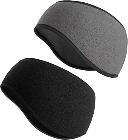 SAVITA 2 Pack Ear Warmers Headband Stretchy Ear Covers Sweatband Ski Winter Headband Earmuff Workout Headbands Moisture Wicking Thermal Sport Headbands for Women Man Girls