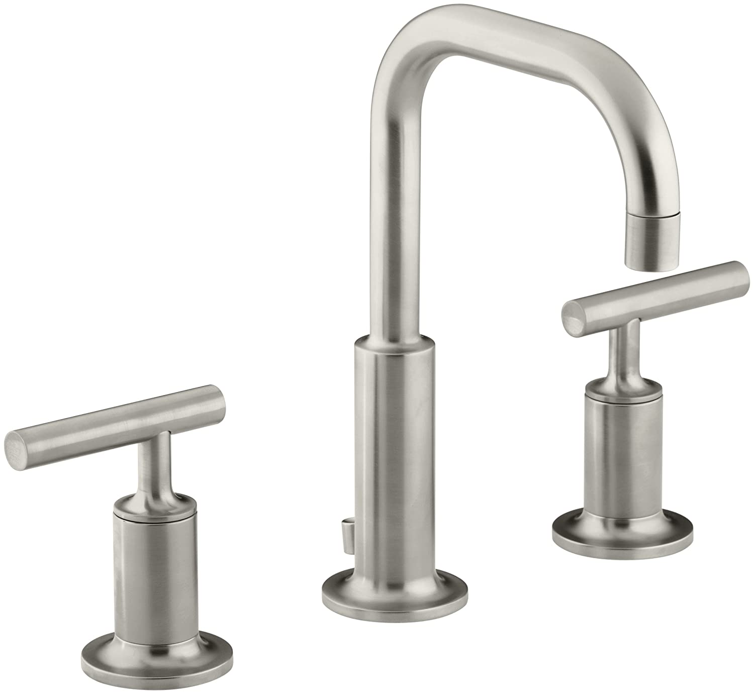 KOHLER Purist K-14406-4-BN Widespread Bathroom Sink Faucet with Metal Drain Assembly in Brushed Nickel