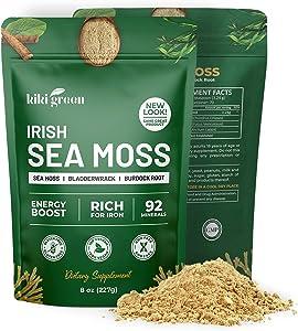 KIKI Green Irish Sea Moss Powder 8 Oz - Wildcrafted Sea Moss with Bladderwrack Burdock Root Powder Dr Sebi Sea Moss for Immune Support, Joint & Thyroid Support - Keto, Vegan Friendly Cell Food