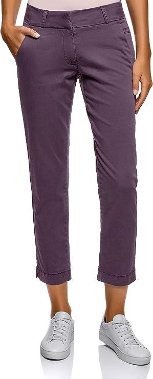 oodji Ultra Mujer Pantalones Chinos de Algodón, Morado, ES 44 / XL: Amazon.es: Ropa y accesorios
