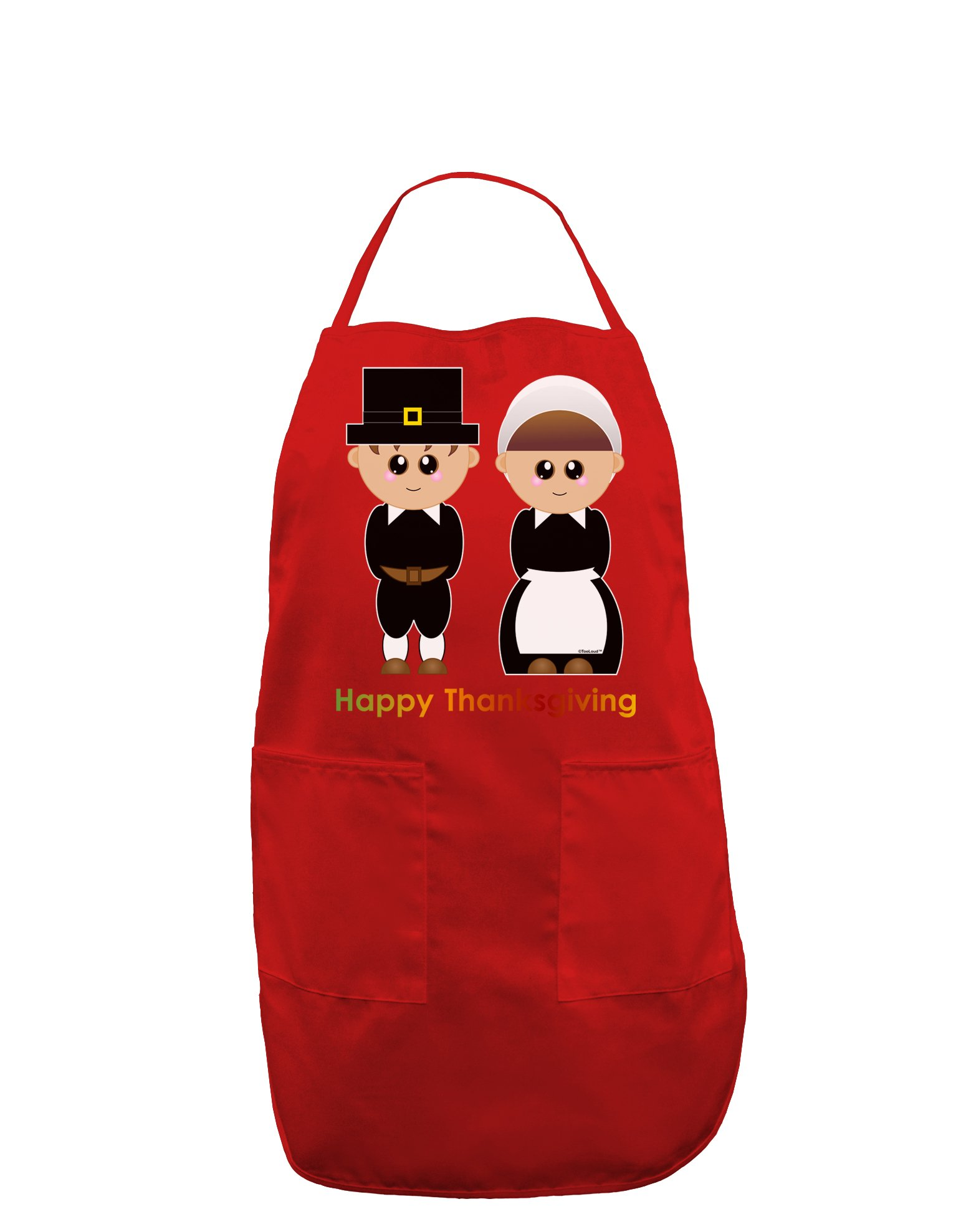 Cute Pilgrim Couple Happy Thanksgiving Dark Adult Apron - Red - One-Size