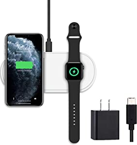 Portable Watch Charger for Apple Watch, 3 in 1 Dual Wireless Charger Pad, Apple MFI & Qi Certified Fast Charging Mat Compatible with AirPods,iPhone,Samsung,Apple Watch Series 6/5/4/3/2/1| QC Adapter
