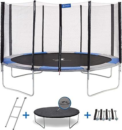 KANGUI RALLI: Cama elástica Redonda con Red, Escalera y Lona de protección, K0178, Azul/Gris, 430 cm: Amazon.es: Deportes y aire libre