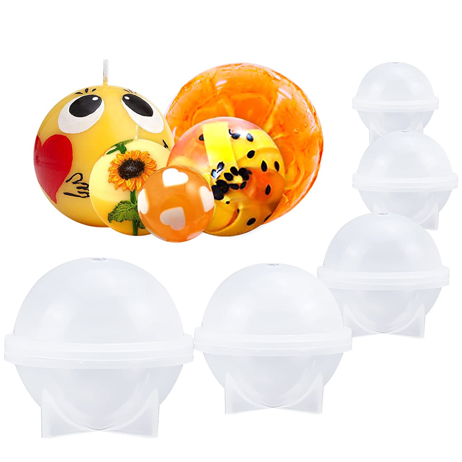 Funshowcase Sphere Round Silicone Mold for Resin Epoxy Jewelry Making Bath Bomb 5-Piece Set Candle Wax Homemade Soap
