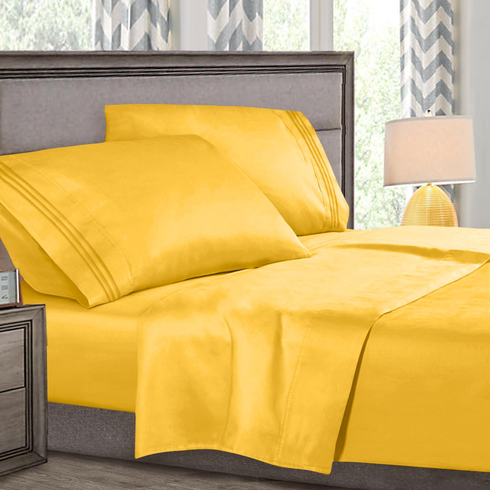 Full Xl Size Bed Sheets Set Yellow, Highest Quality Bedding