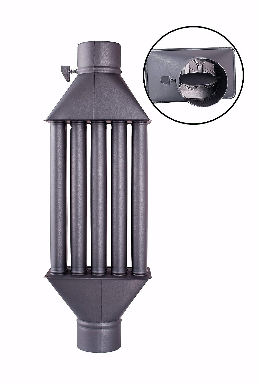 Intercambiador de calor de chimenea Diplomat intercambiador de aire caliente, enfriador de gas de escape negro, diámetro de 130mm, 5 tubos con ...