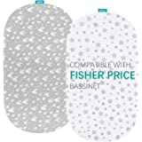 Bassinet Fitted Sheets Compatible with Fisher-Price Soothing Motions Bassinet, 2 Pack, 100% Jersey Knit Cotton Fitted Sheets,