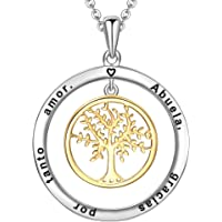 LOVORDS Collar Mujer Grabado Plata de Ley 925 Colgante Árbol de la Vida Familiar Círculo Regalo Madre Mamá Esposa Novia…