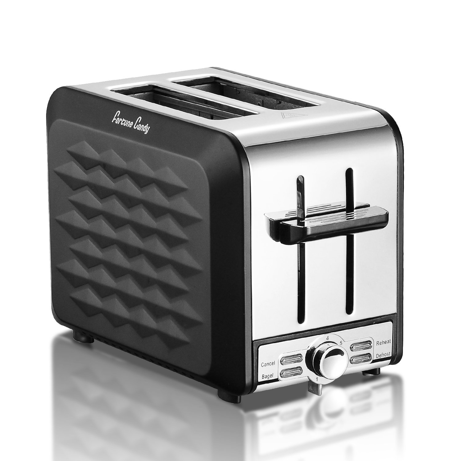 Fortune Candy Stainless Steel 2 Slices toaster, black toaster With Extra Wide Slot, 7-Shade Control