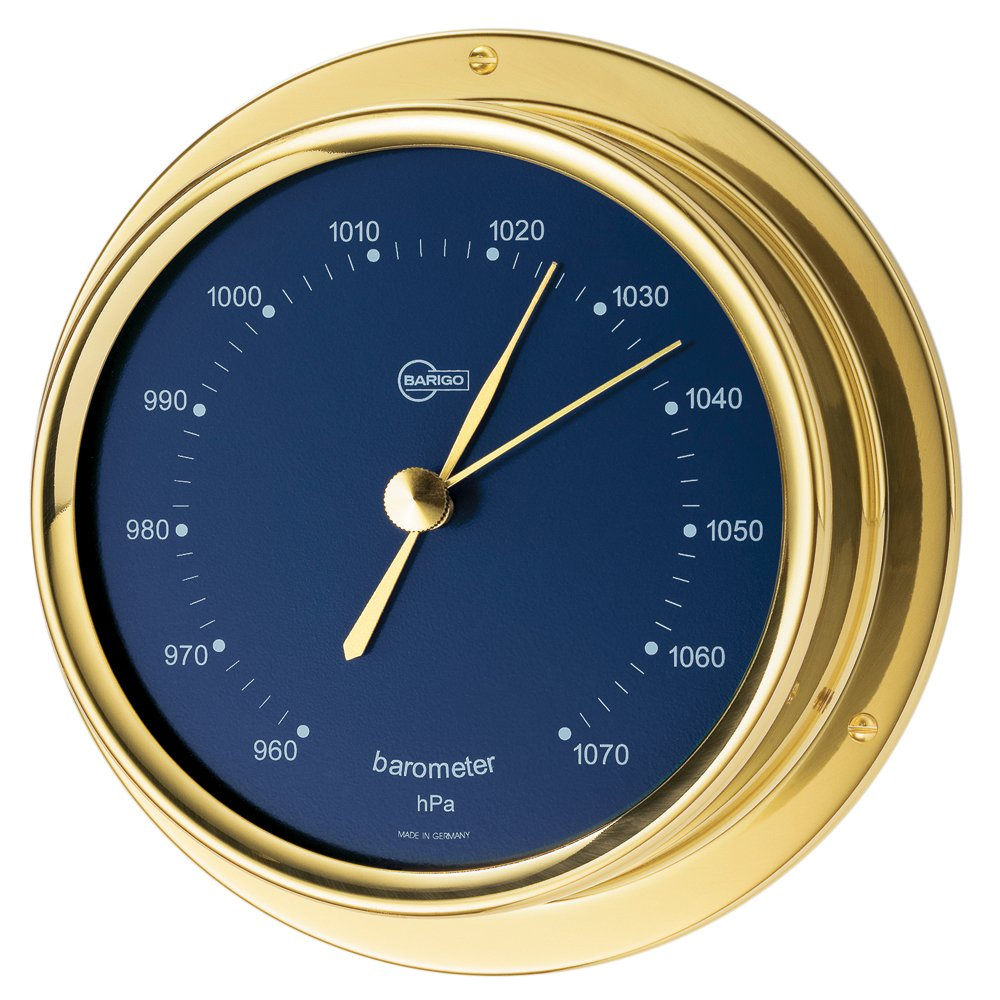 BARIGO Regatta Series Ship's Barometer - Brass Housing - Blue 4 Dial 184MSBL