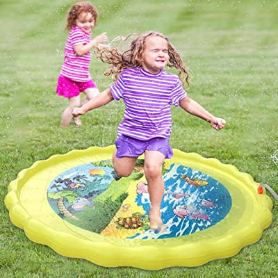 B bangcool Splash Pad Marine Animals Sprinkler Pad Water Play Mat Outdoor Water Toy for Kid: Sports & Outdoors