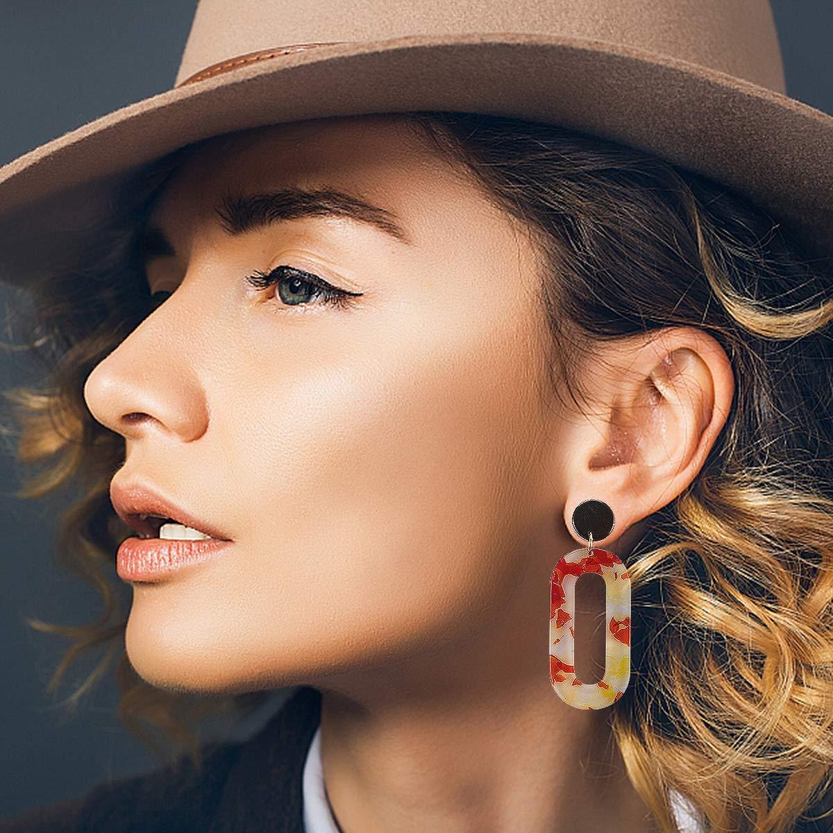 Cosweet 5 Pairs Lightweight Mottled Acrylic Dangle Drop Earrings Geometric Resin Bohemian Statement Hoop Stud Earrings Set for Women Girls Fashion Jewelry