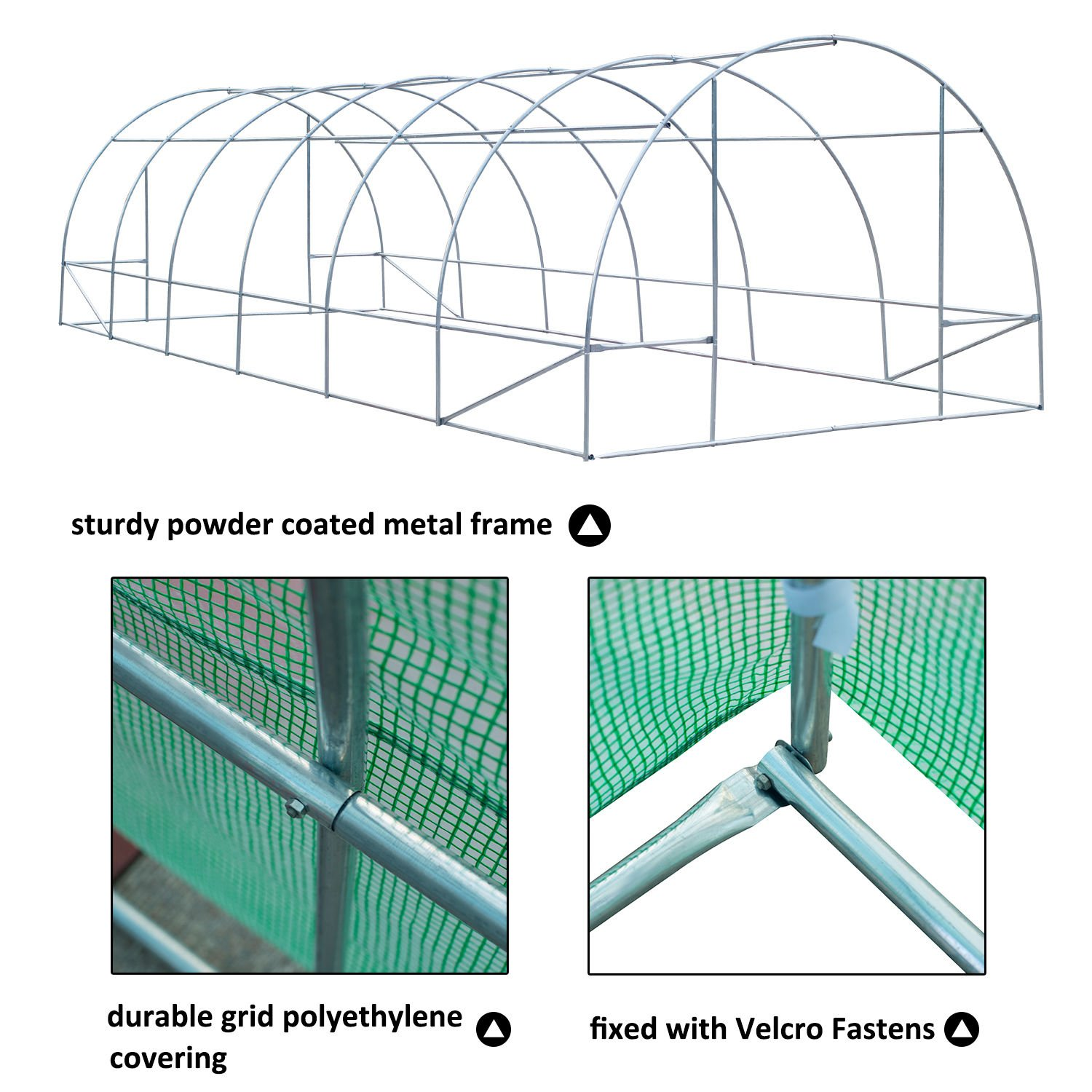 Outsunny 26' x 10' x 7' Portable Walk-in Garden Greenhouse - Deep Green by Outsunny (Image #3)