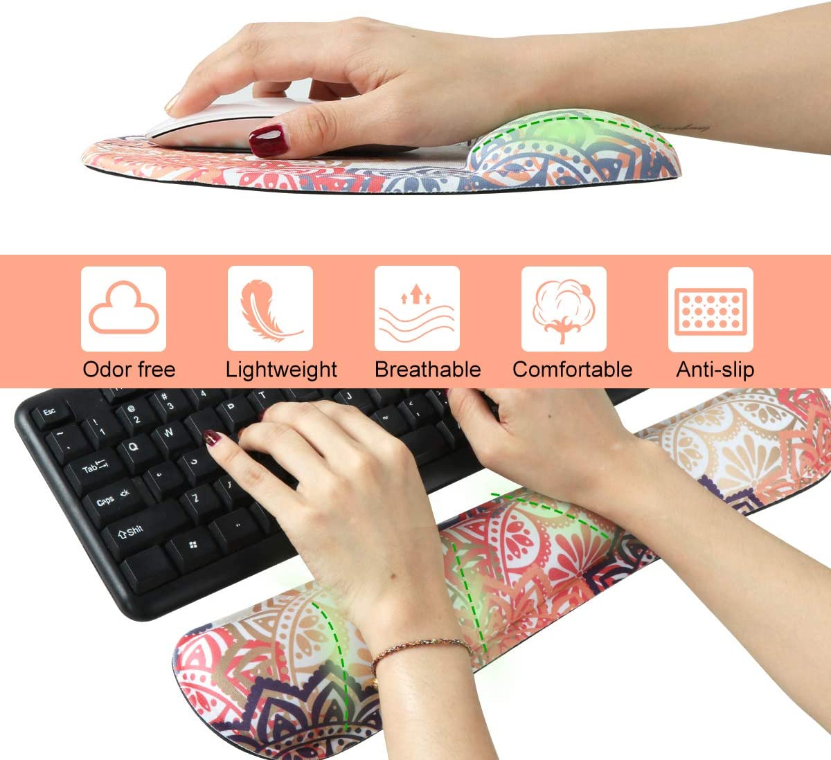 Paper Cutting Anyshock Keyboard Wrist Rest Set and Ergonomic Mouse Pad with Wrist Support Memory Foam Filled Non Slip Durable Comfortable Lightweight Wrist Pad for Easy Typing /& Pain Relief