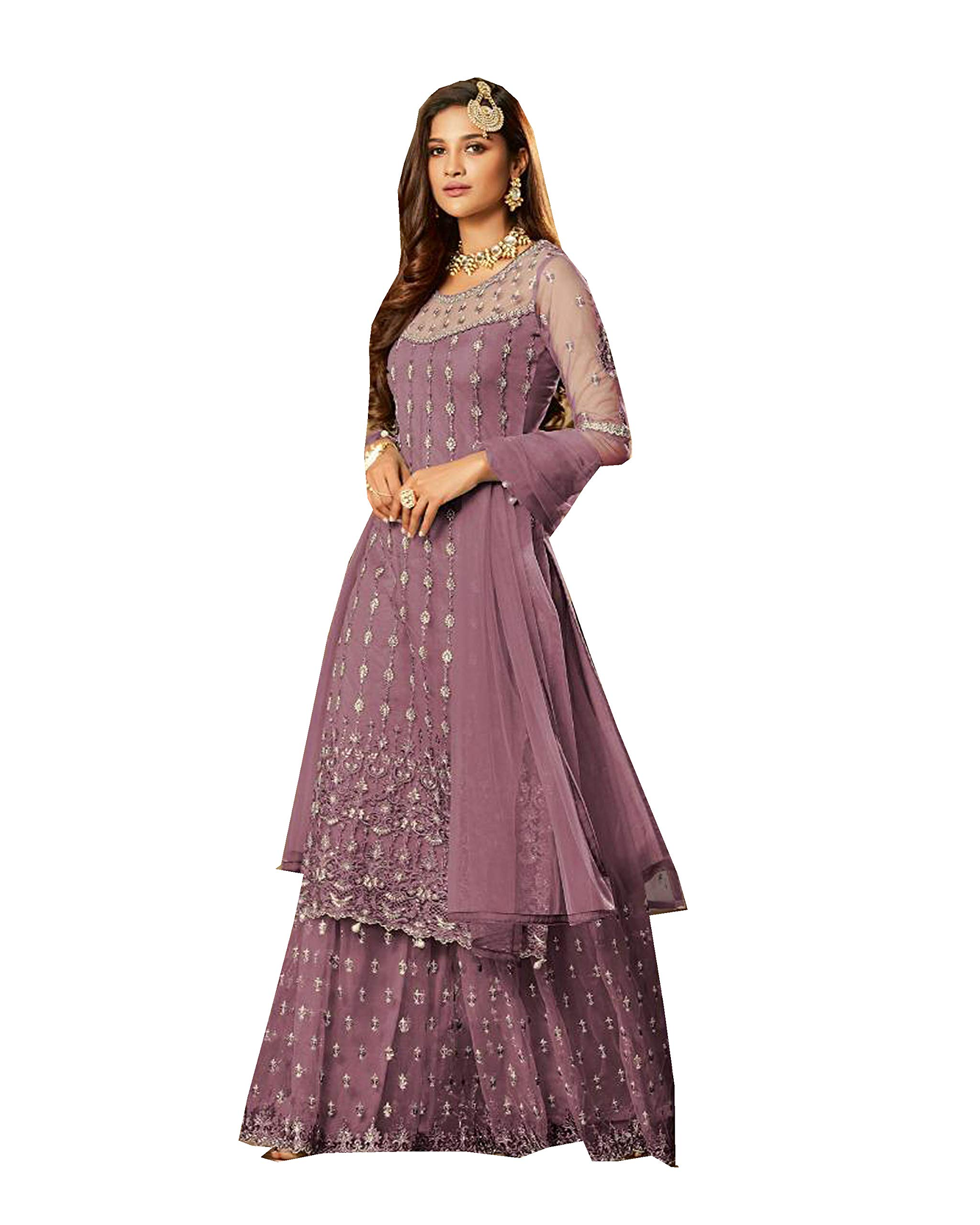 Delisa Bollywood Ghagra Style Salwar Kameez Party Wear/Ethnic wear for Women 57002 (Purple, XL-44)