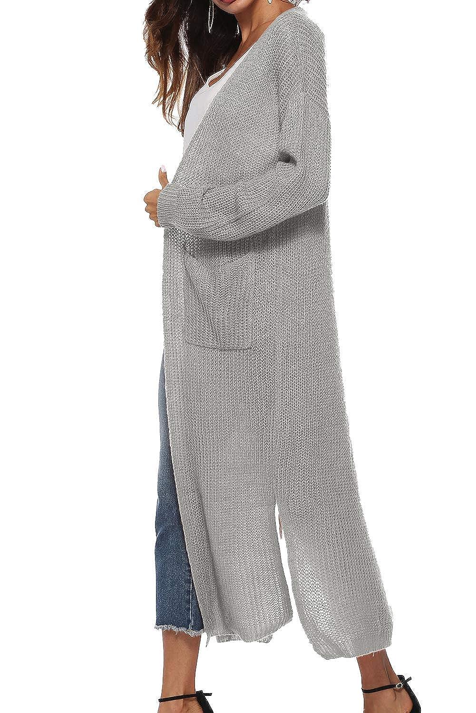 Cardigan Lungo Donna Invernale Lana Giacca Maglione Manica Lunga Leggero Cappotto Asimmetrico Blazer Aperto Giubbotto in Maglia con Spacchi Laterali e Tasche Capispalla Ragazza Trench Coat Streetwear