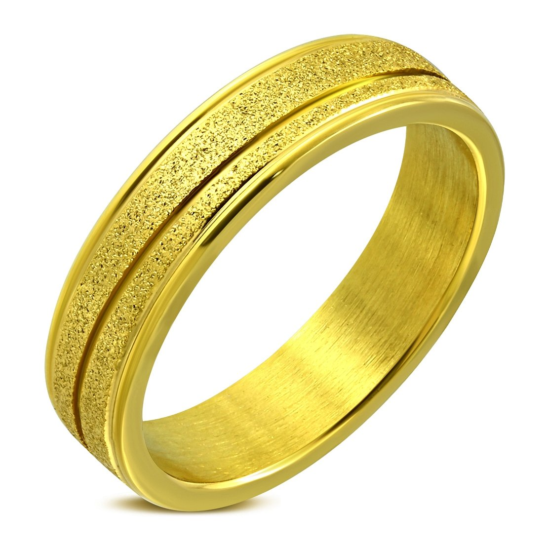 Stainless Steel Gold Color Plated Sandblasted Diagonal Grooved Step-Edge Half-Round Wedding Band Ring