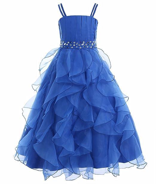 YIZYIF Niña Vestido Organza Flor Tirantes Vestido Plisado De Princesa Vestido De La Boda De Dama