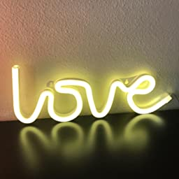 Amazon Com Qiaofei Light Up Marquee Letters Lights Letters Neon Signs Wall Decor Table Decor For Home Bar Christmas Birthday Party Valentinefs Day Words Warm White Letters L Home Kitchen