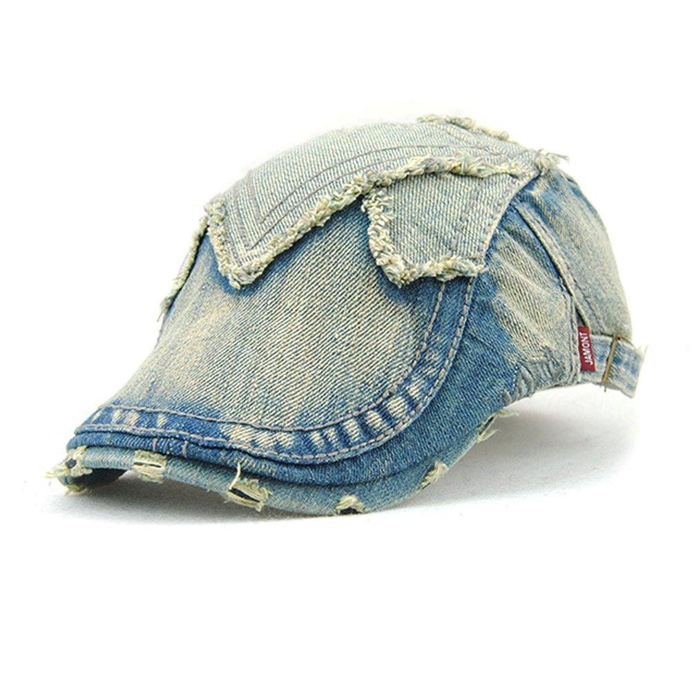 GADIEMENSS Newsboy Caps Blue Washed Jeans Denim Unisex Summer (Size:56-60cm)
