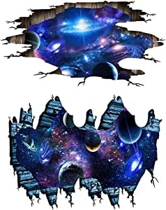 2 Set Blue Cosmic Galaxy Wall Decals Broken Wall View 3D Magic Milky Way Outer Space Planet Stickers Murals Wallpaper Decor for Home Floor Ceiling Living Room Kids Room