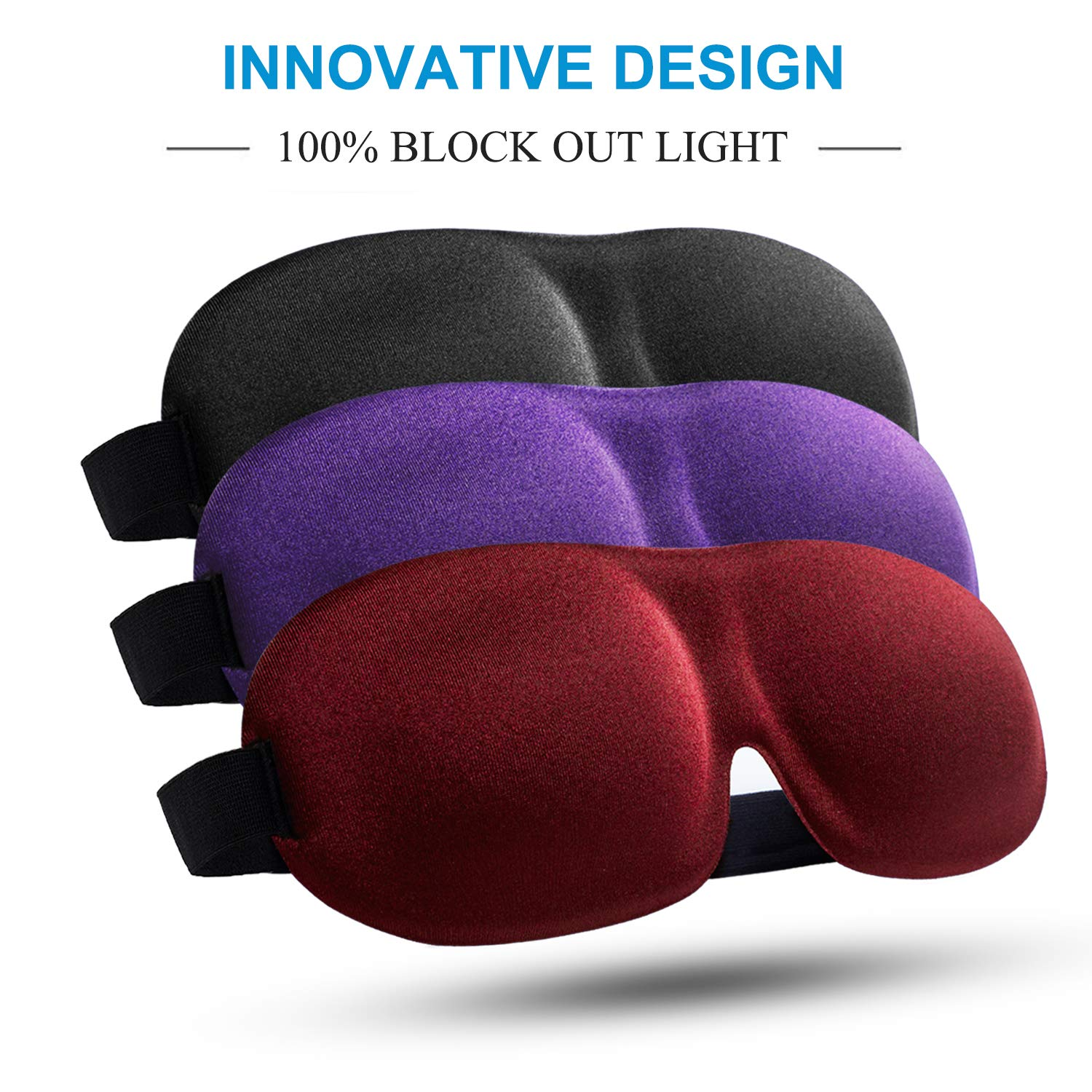 Sleep Mask 3 Pack, Upgraded 3D Contoured 100% Blackout Eye Mask for Sleeping with Adjustable Strap, Comfortable & Soft Night Blindfold for Women Men, Eye Shades for Travel/Naps, Black/Purple/Red