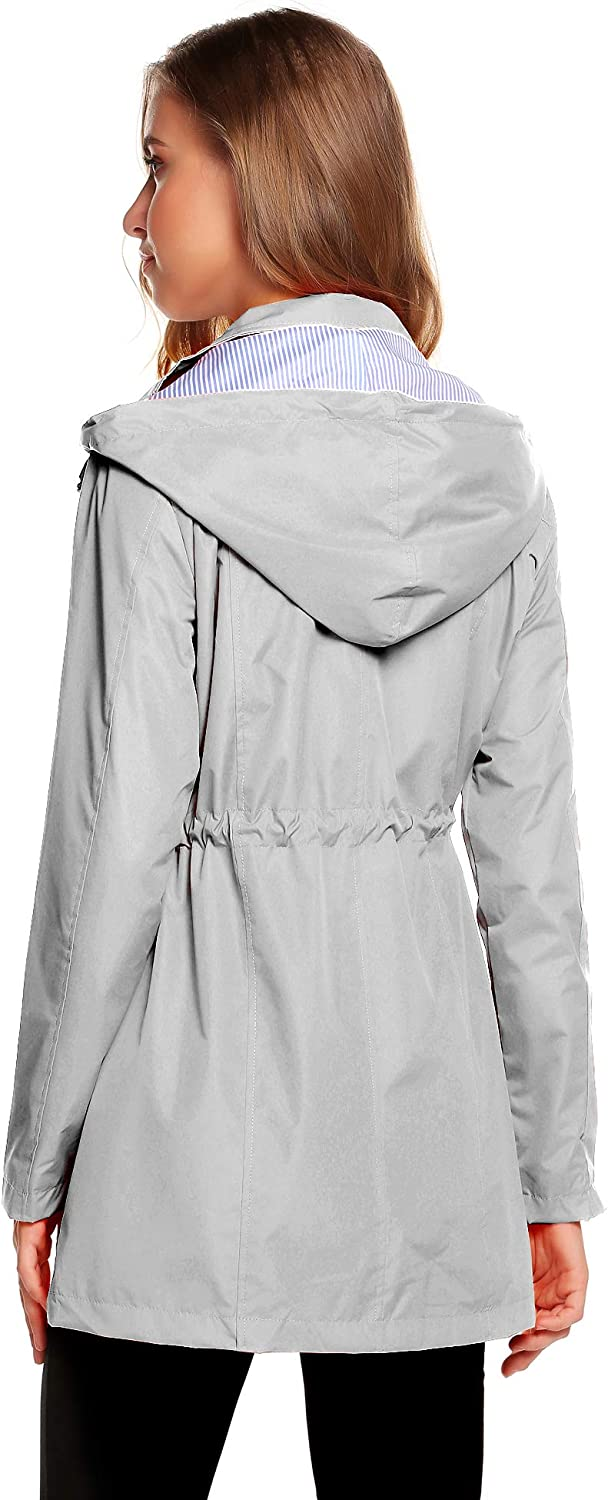 Romanstii Womens Waterproof Rain Jacket Hooded Raincoat Lined Outdoor Windbreaker Long Sleeve Zipped Trench Coats