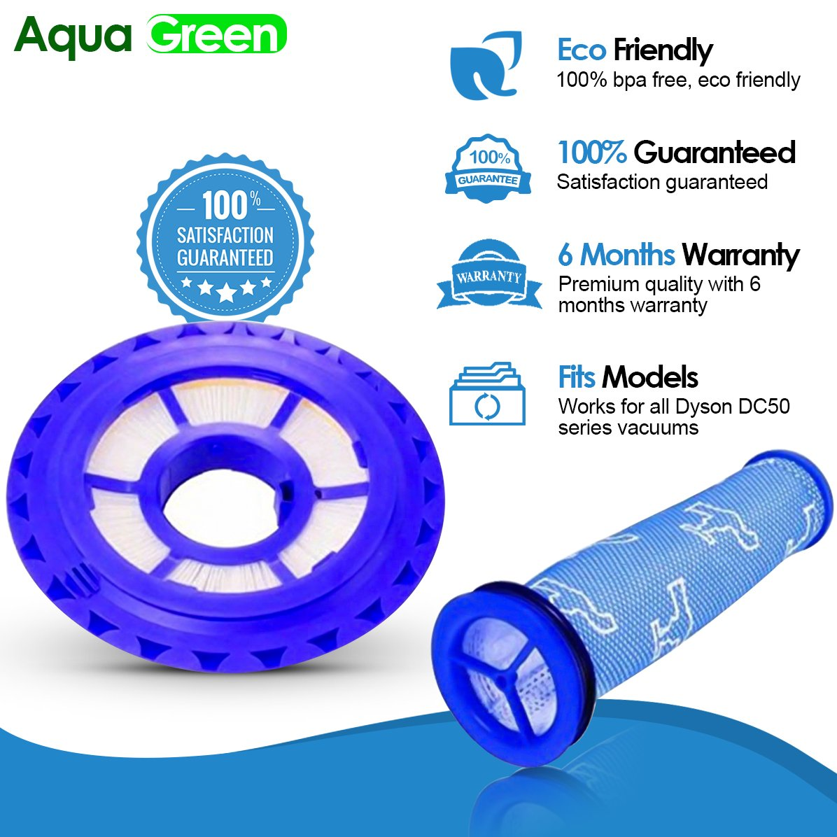 AQUA GREEN Replacement Dyson DC50 Compatible Hepa Post Filter & Washable Pre Filter Kit - for Animal and Multi Floor Vacuum Part #965081-01