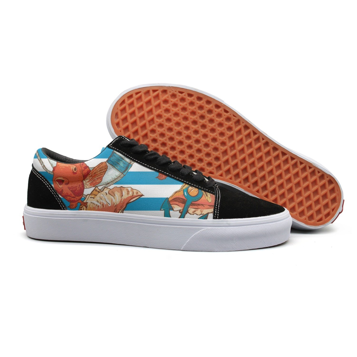 VCERTHDF Print Trendy Sea Shells Anchor Lifeline Fish On Striped Low Top Canvas Sneakers