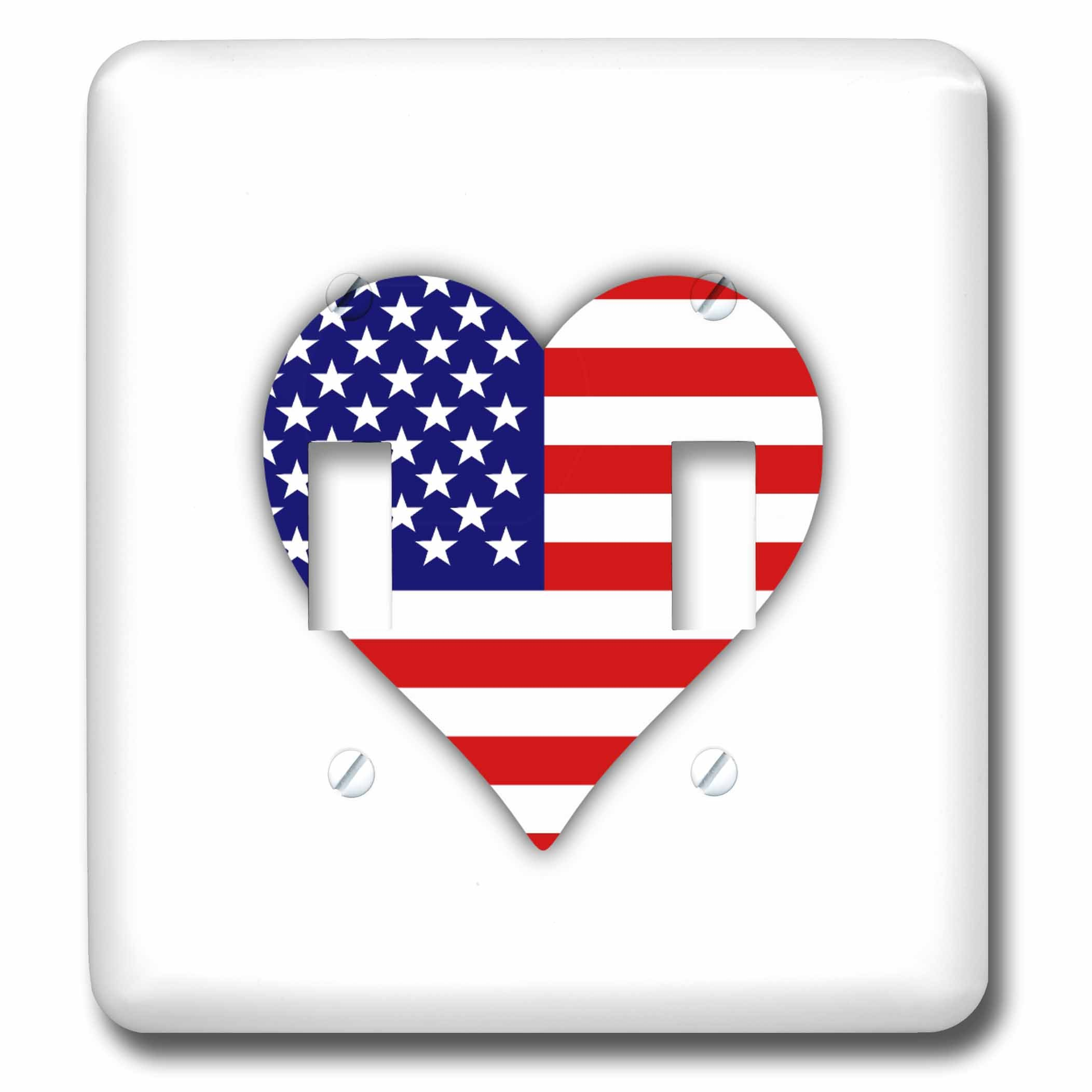 3dRose lsp_184871_2 American Flag Heart I Love America Patriotic Use July 4th Gift Double Toggle Switch