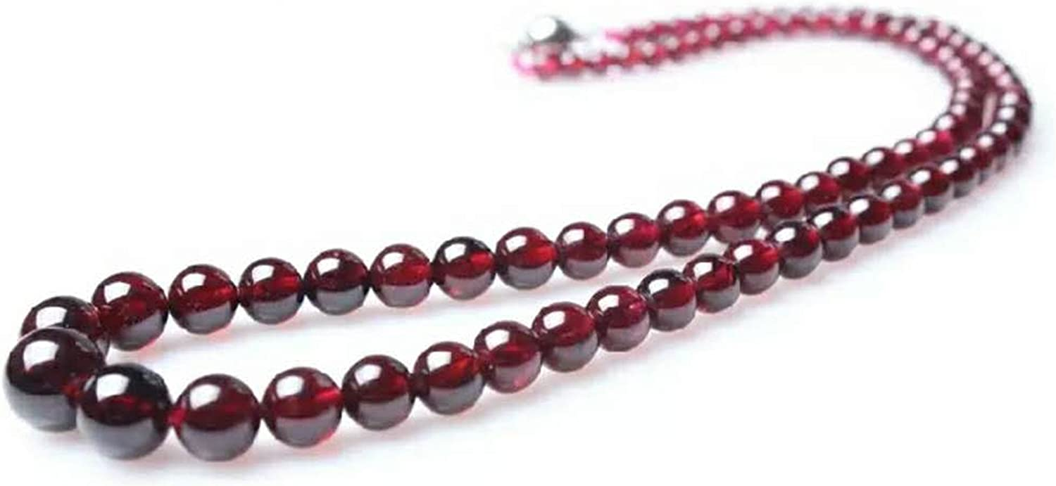 sterling silver jewelry handmade long cable chain minimal style diamond cut chain Garnet necklace bead necklace faceted garnet rounds