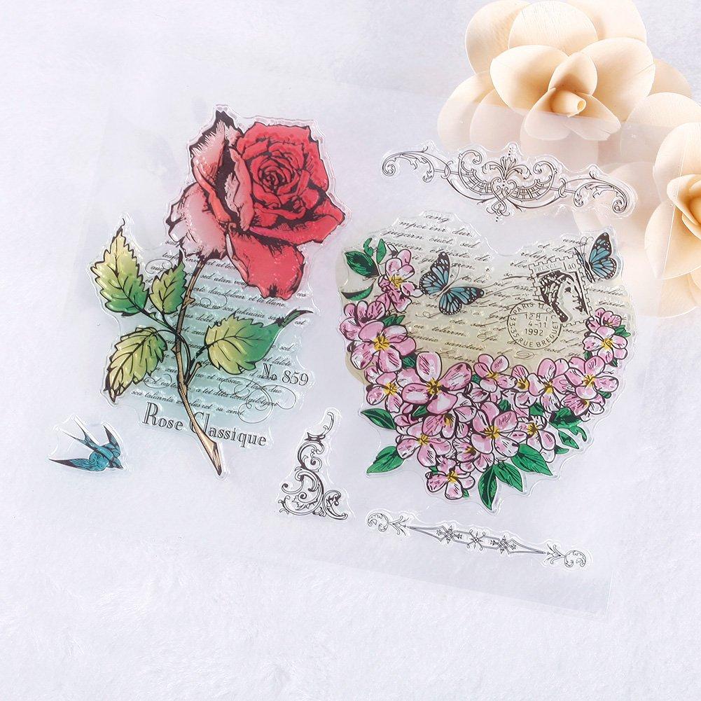 Zhuotop Charming rose fiore modello fai da te trasparente timbro di gomma sigillo fai da te scrapbooking Decor 2059125