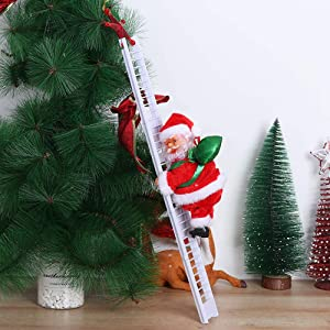 Tooeary Christmas Decor Santa Claus Climbing Ladder Funny Electric Climbing Ladder Santa Claus Christmas Figurine Hanging Ornament for Kids' Gift (Style 2)