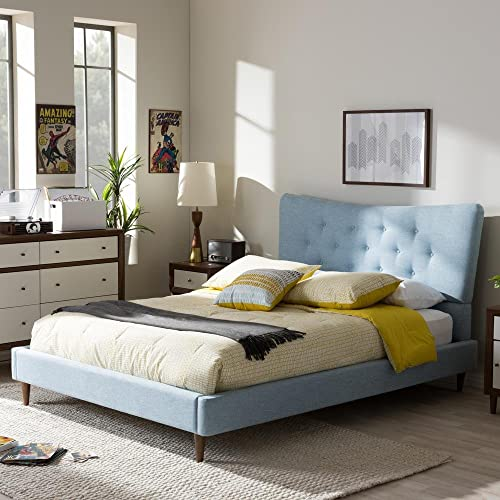 Baxton Studio Hannah Mid-Century Platform Bed Light Blue/Queen