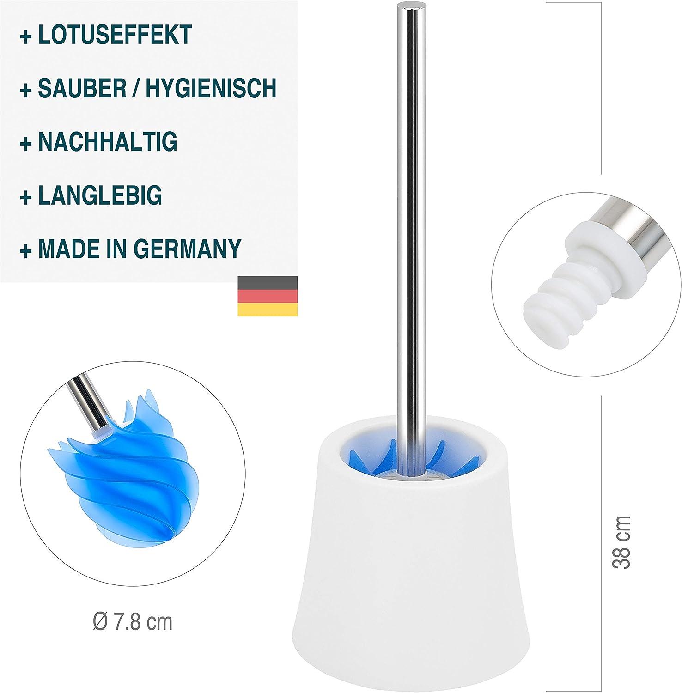 azul LOOMAID Escobilla WC de Silicona con Efecto Flor de Loto Escobilla de ba/ño higi/énica de acero inoxidable con soporte blanco