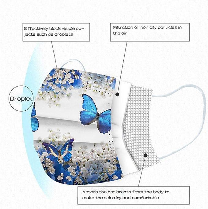 3-lagig Staubdicht Einwegh/ülle Atmungsaktive Mund und Nasenschutz Multifunktional Halstuch 50 St/ück Erwachsene Einweg/_Mundschutz Mit Motiv Schmetterling Libelle