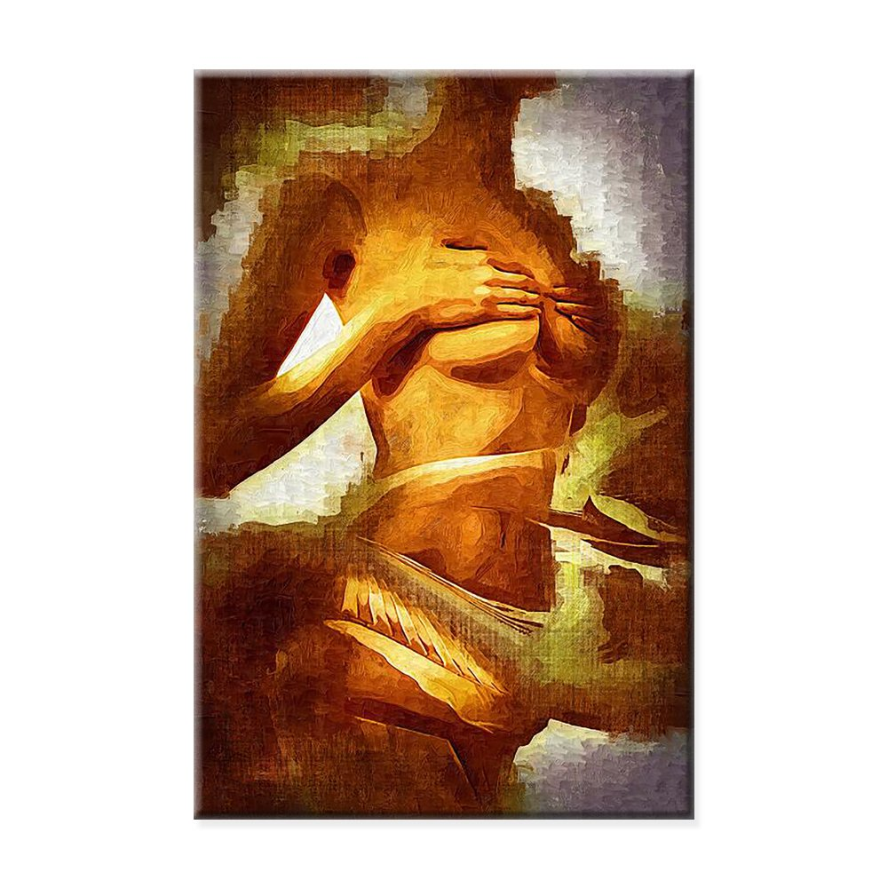 Sexy nude girl Abstract art sexy beauty naked decoration painting canvas painting watercolor character home decor for living room Framed Ready to Hang