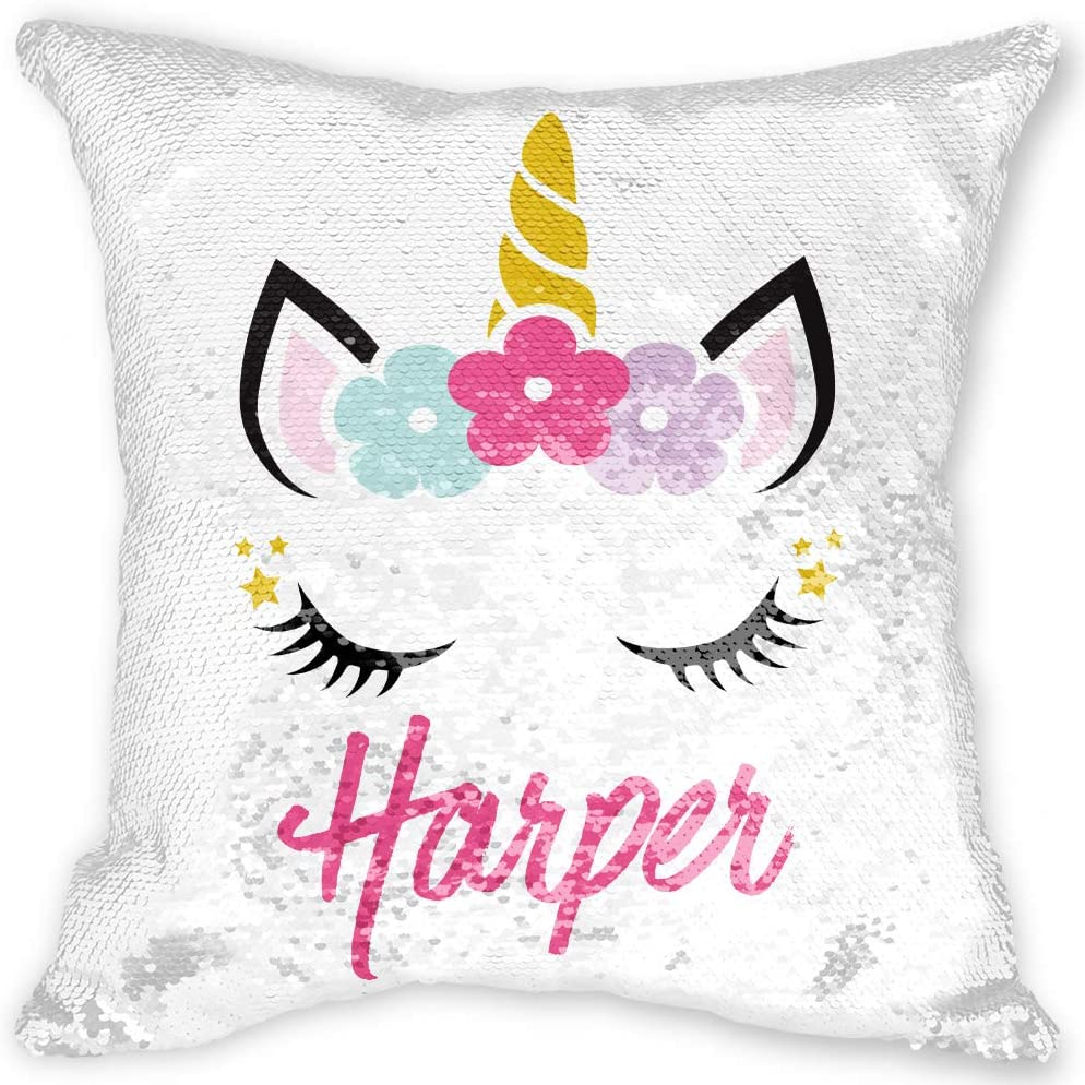 Personalised Unicorn Cushion Gift for Girls Bedroom ANY TEXT Birthday Pillow