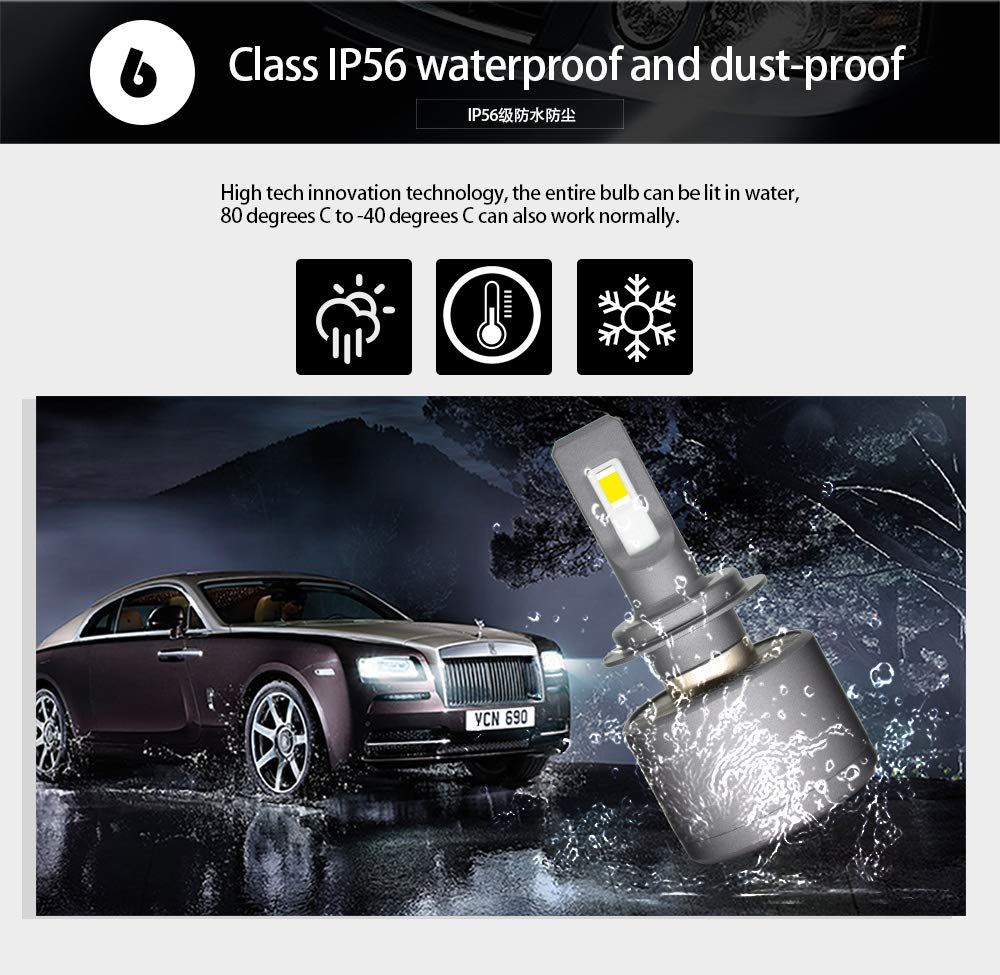 2 Years Warranty 7600 Lumens 12000K XENON White One output power 60W - External drive D2 Waterproof XENONFX LED Headlight Bulbs Conversion Kit All in One Automotive Headlamp 120W