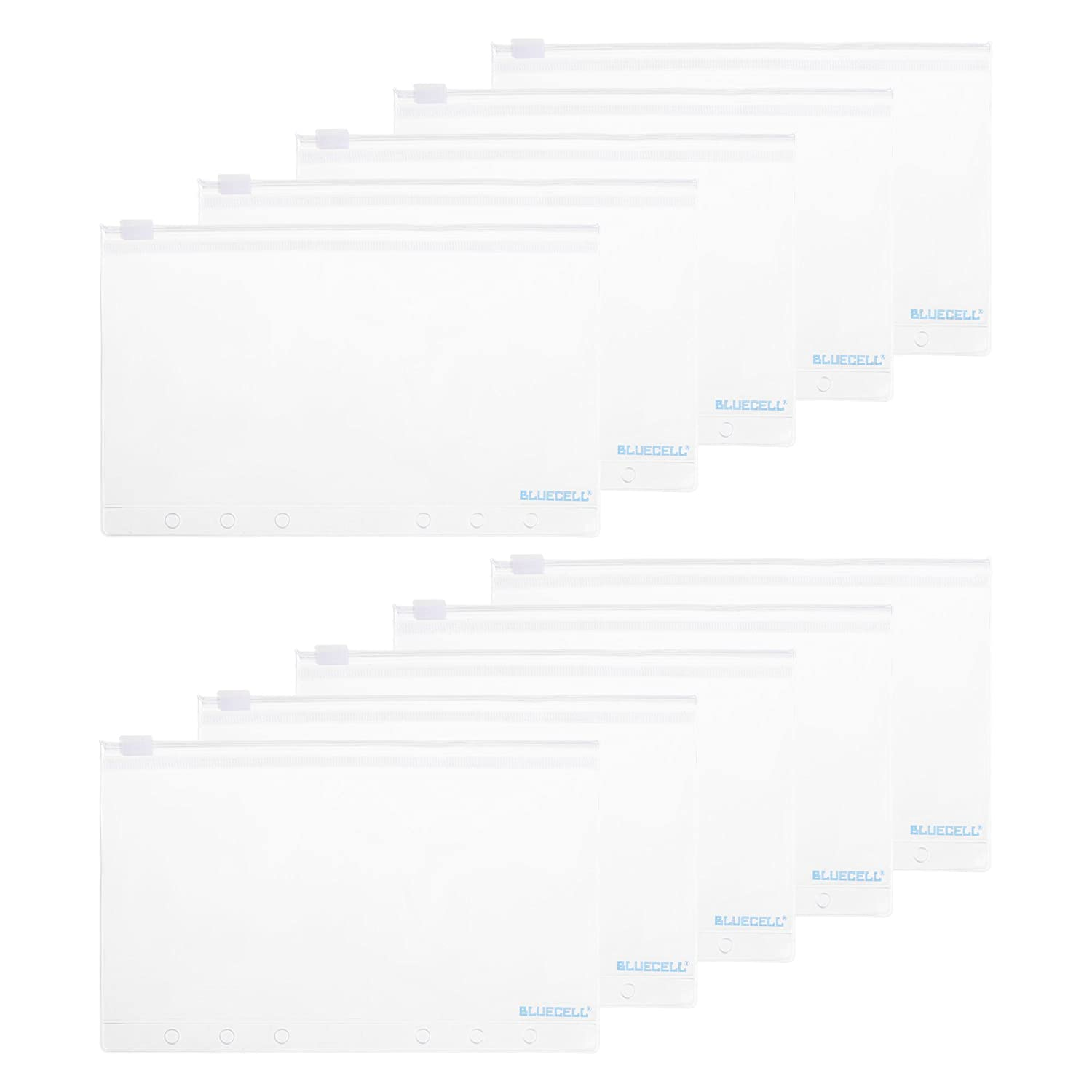 BCP 10pcs PVC Plastic Clear Color Fog A6 Size Zippered Binder Pockets for 6-Ring Notebook Binder 7 x 4-1/4inches