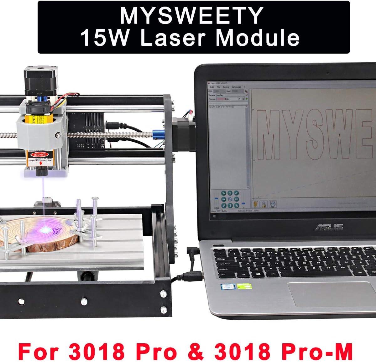 MYSWEETY 15000mW Module Laser pour Machine CNC Bricolage Routeur CNC Machine de D/écoupe de Gravure Sur Bois Logo DIY de Graveur Laser CNC