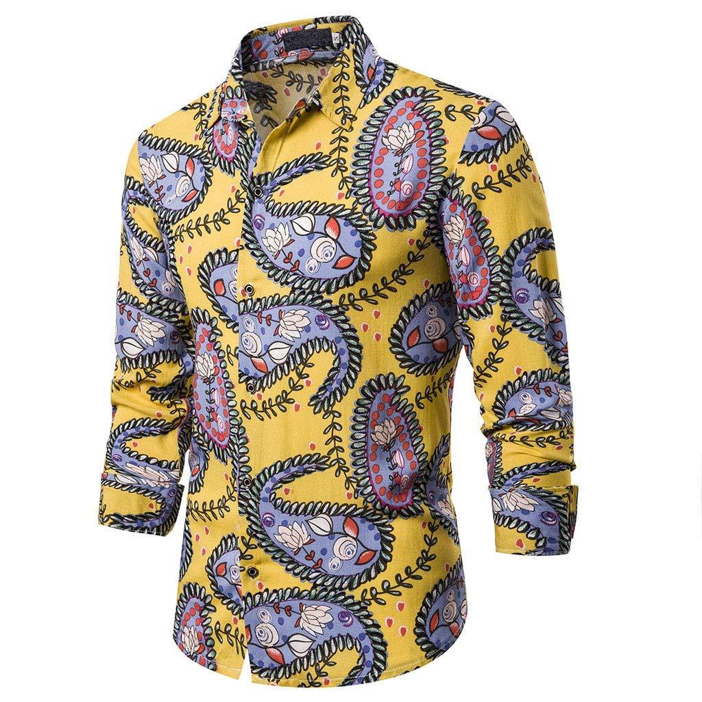 Halfbye Mens Slim Fit Long Sleeve Shirt Button Down Tops Pocket Print Blouse Turn-Down Collar Shirts Top Blouse