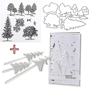 ShapeW Trees Metal Cutting Dies Stamp Stencils DIY Scrapbooking Photo Album Decor Cards (Clear Stamp+Dies Cutting)