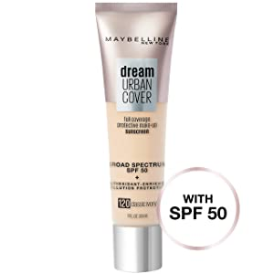 Maybelline Dream Urban Cover Flawless Coverage Foundation Makeup, SPF 50, Classic Ivory